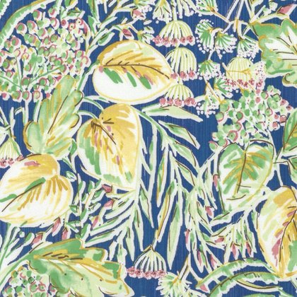 FREES- Marquesas Paradis Navy blue w/yellow/green leaves