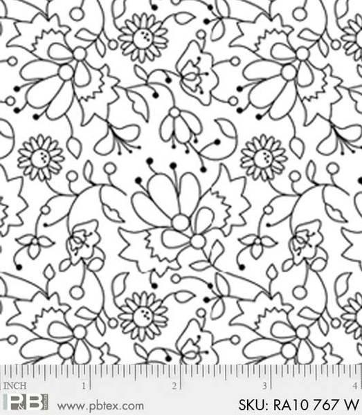 PB- Ramblings 10 Floral 767W White-on-White