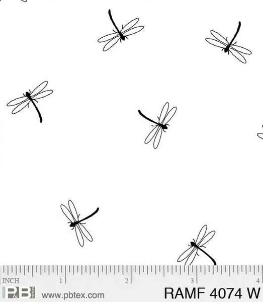 PB- Ramblings Fun Dragonflies White On White