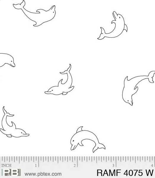 PB- Ramblings Fun Dolphins White On White