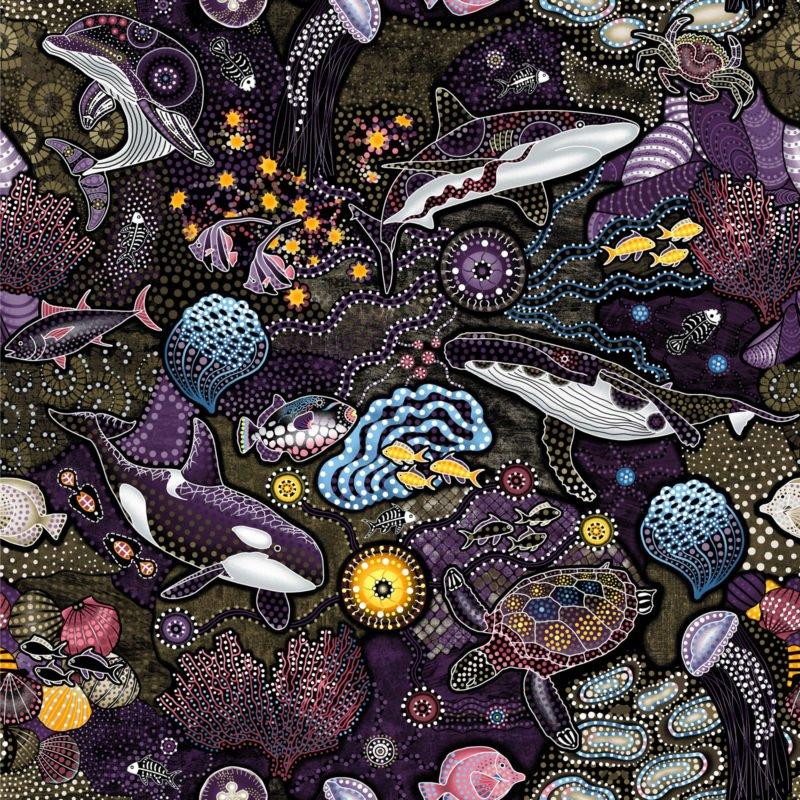 OASIS- Way Under Sea Life Brown/Purple