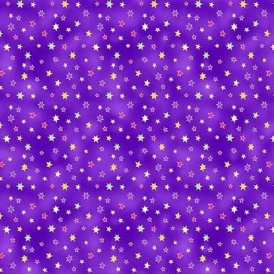 CLOTH- Celestial Magic Stars Dark Eggplant