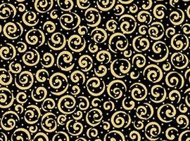 QT Holiday Metals Scroll 23538-JS Black/Gold