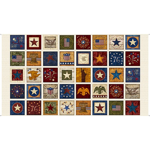 Quilting Treasures STARS & STRIPES FOREVER PATRIOTIC PATCHES PANEL 25998 -E  ECRU