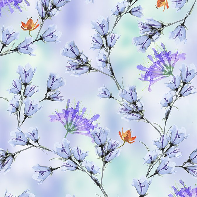 Belle Floral Branches 26418-W Periwinkle