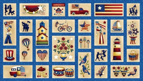Henry Glass Libertyville Americana Scenes PANEL 8701 77