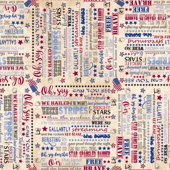 Land of the Free Star Spangled Banner Words 9511-41 Tan