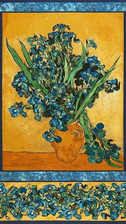 299 & Robert Kaufman Vincent Van Gogh Flowers in Vase Panel AVG ...