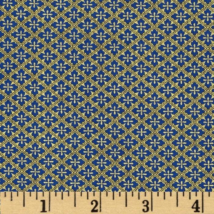 Timeless Treasures Blue Diamonds Imperial Garden w/Metallic CM2757