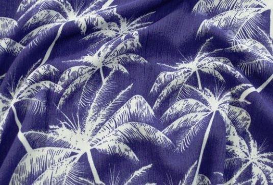 Fabric Crepe Palm Life Navy