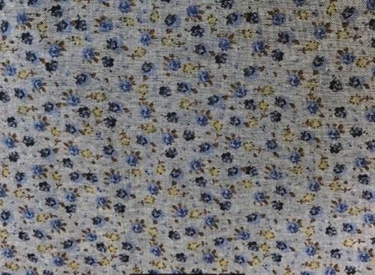 Cotton Fabric Chambray Blue Flower on Denim background 60