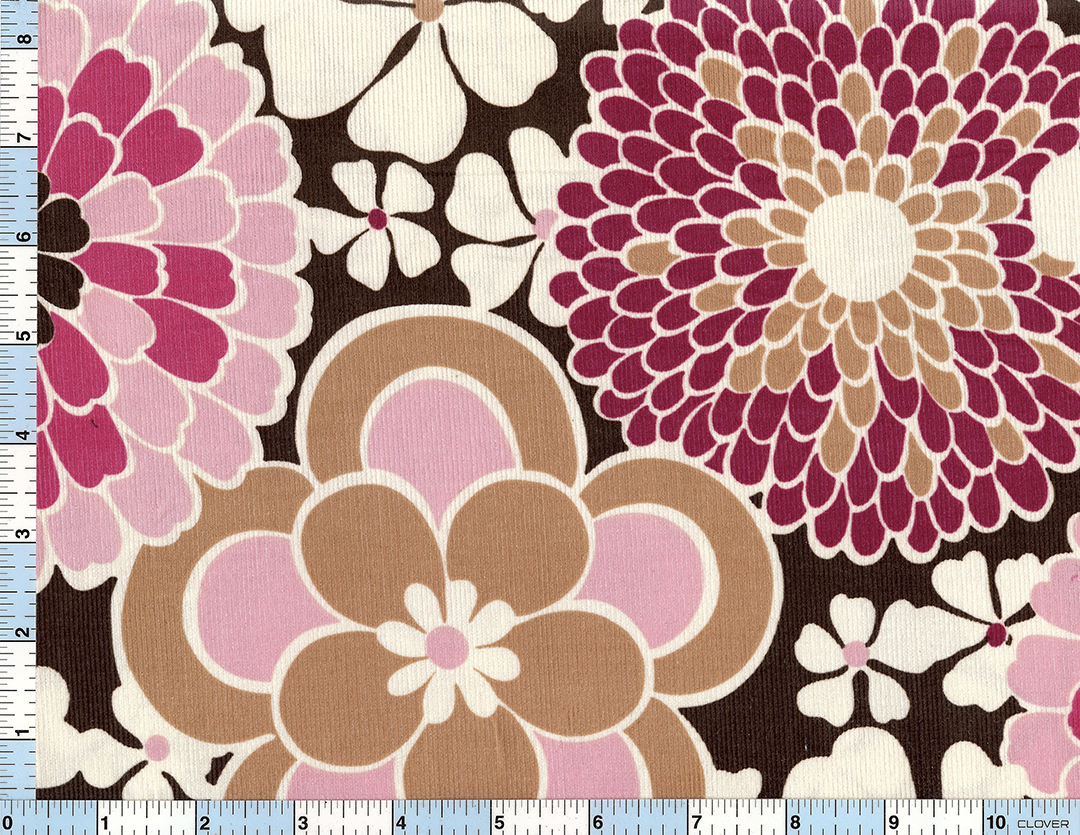 Corduroy lg flower CCD 9469 Brown /yd