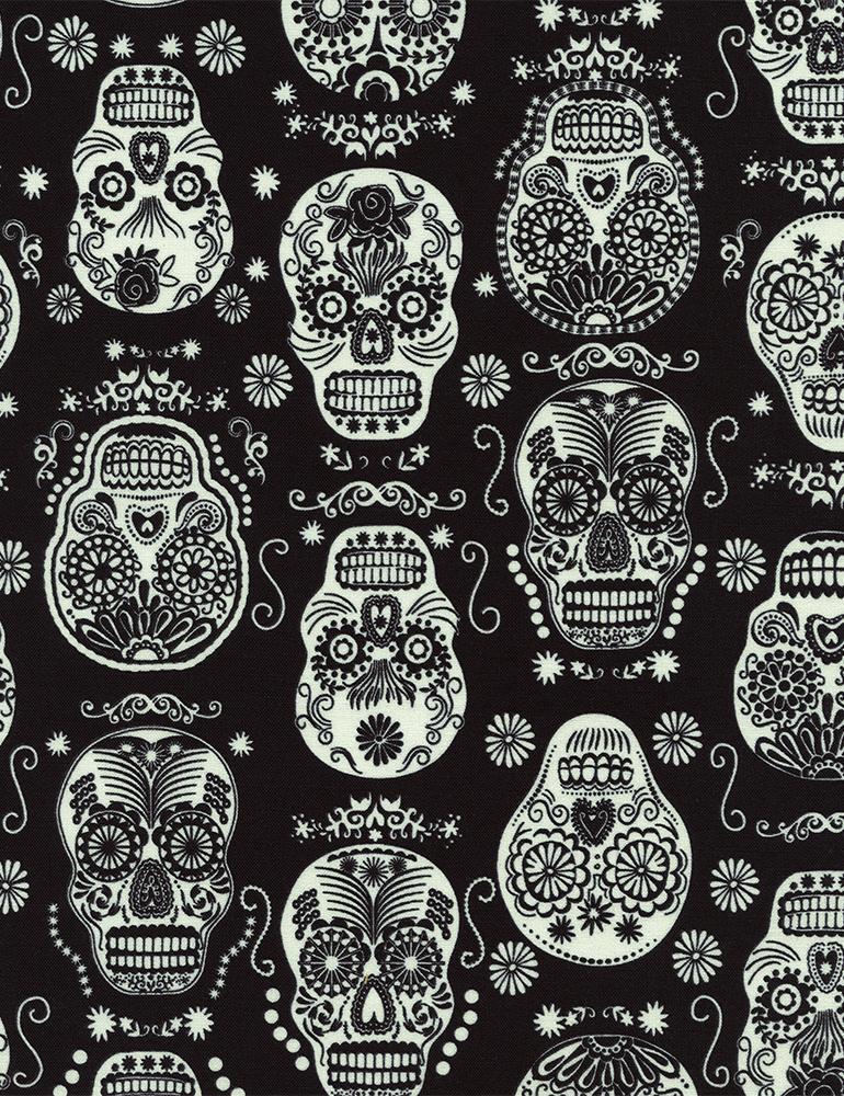 Cotton Print- Folklore Sugar Skulls- STH#11228490