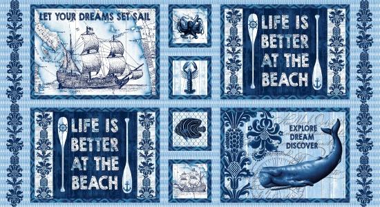 Cotton Print- Panel- Indigo Coastal STH#11228775