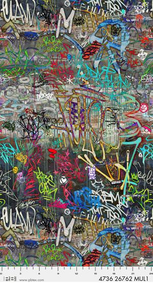 Digital Cotton Print- Graffiti- Graffiti STH#11228904