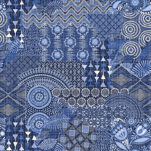 Cotton Print- Moody Blues- Large Patch- Dark Blue STH#11228928