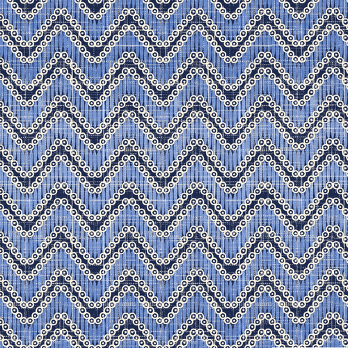 Cotton Print- Moody Blues- Chevron- Medium Blue STH#11228929
