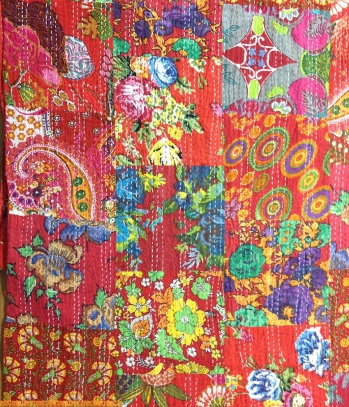 Hand Quilted Cotton Print- Kantha- Red Patchwork STH#11229192