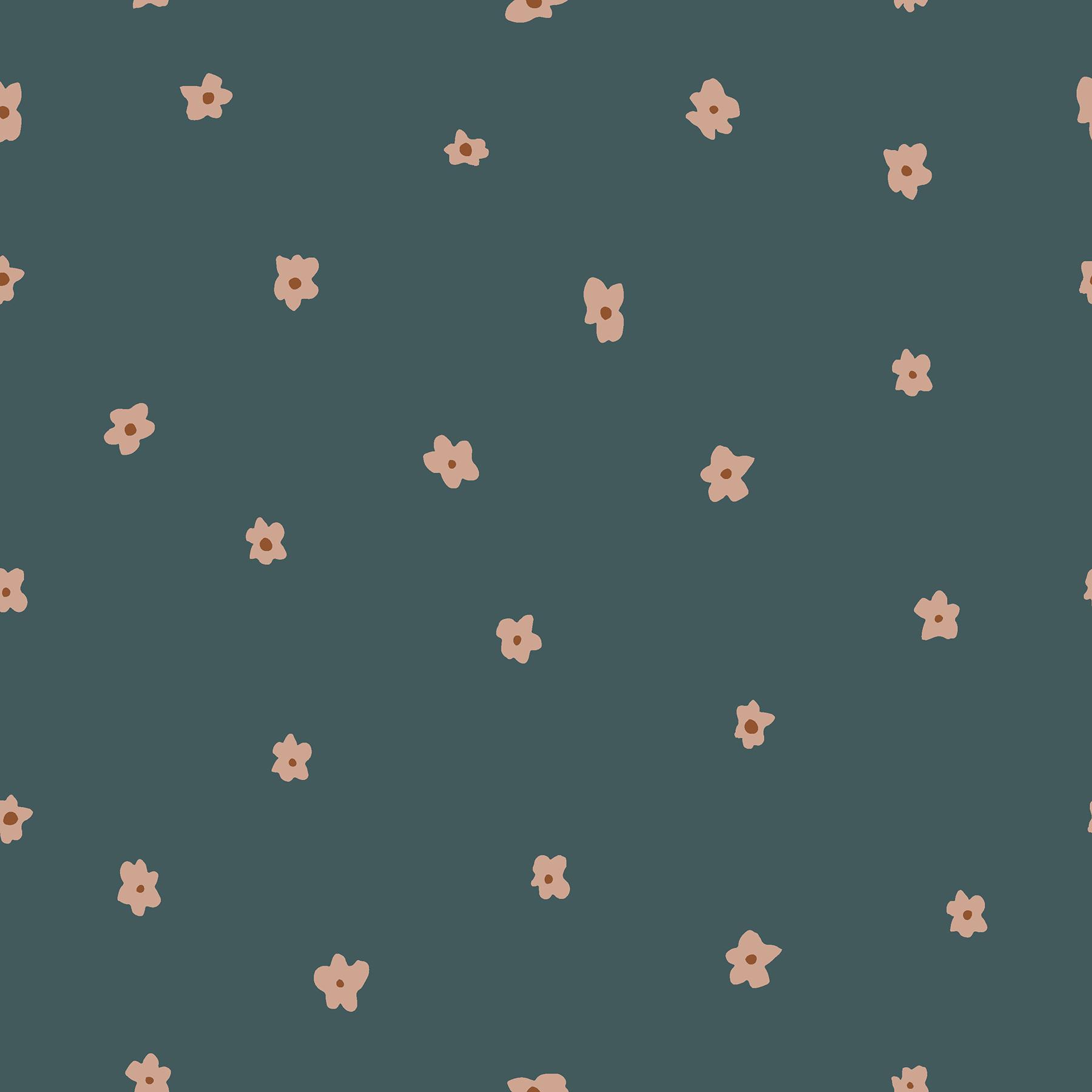 Cotton Poplin- Dear Isla- Posies- Hunter Green STH#11229579