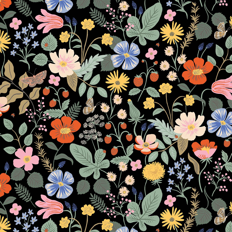 Cotton Poplin- Strawberry Fields- Black STH#11229591