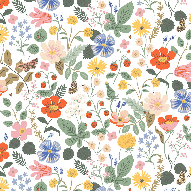 Cotton Poplin- Strawberry Fields- Ivory STH#11229593