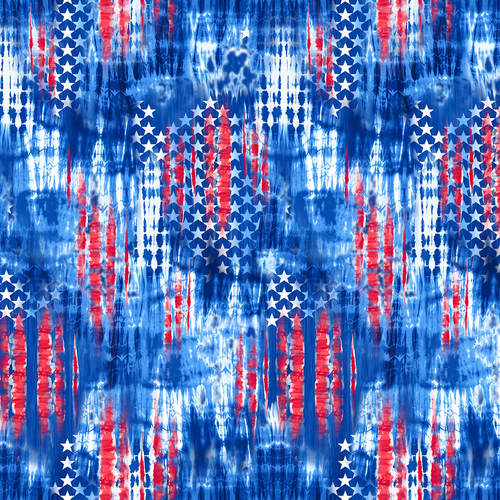 Cotton Poplin- One Land One Flag- Abstract Stars- Blue STH#11229696