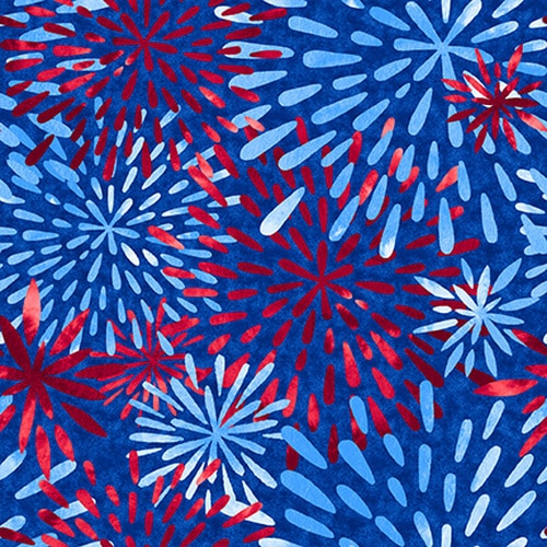 Cotton Poplin- One Land One Flag- Fireworks- Blue STH#11229697