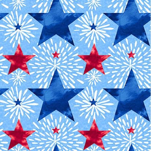 Cotton Poplin- One Land One Flag- Patriotic Stars- Blue STH#11229698