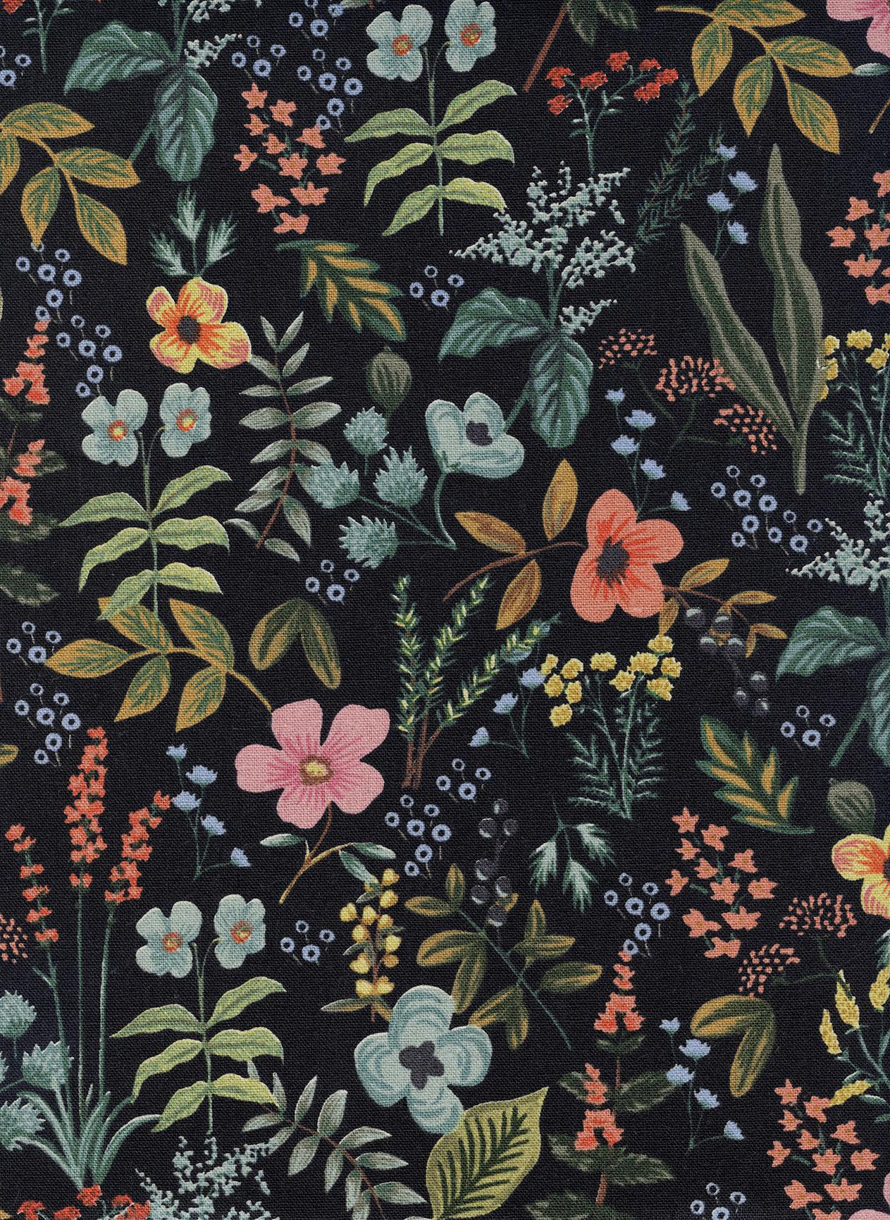 Canvas- Cotton Linen- Rifle Paper Co- Amalfi- Herb Garden- Midnight STH#11229719