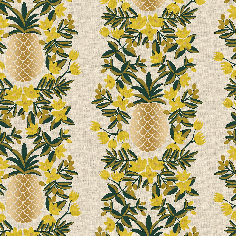 Canvas- Cotton Linen- Rifle Paper Co- Primavera- Pineapple Stripe- Cream Metallic STH#11229722