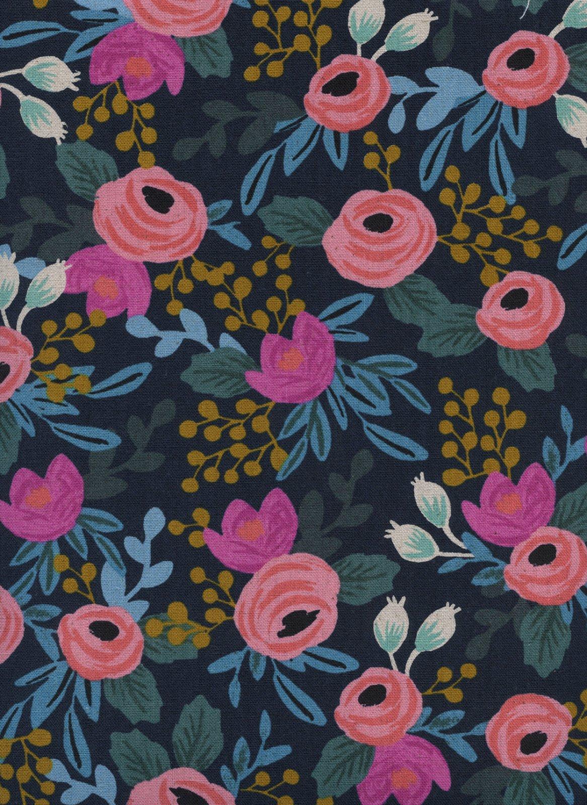 Canvas- Cotton Linen- Rifle Paper Co- Menagerie- Rosa- Navy STH#11229721