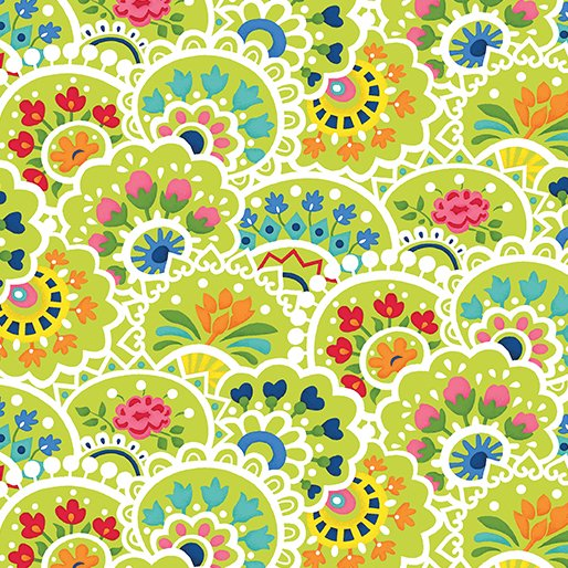 2yd 17.5Multi Paisley Green Bree (by the yard)