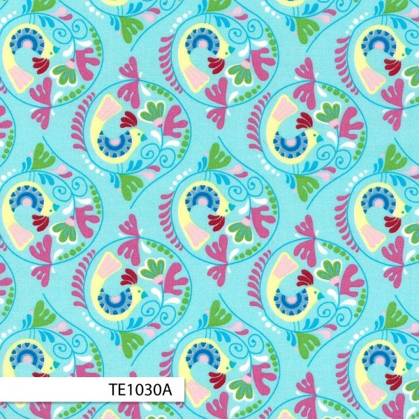 Birds Aqua (by the yard) Chirpy Lola Collection