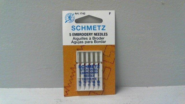 5PK STICK-NADEL EMBROIDERY NEEDLES 130/705 H-E SCHMETZ