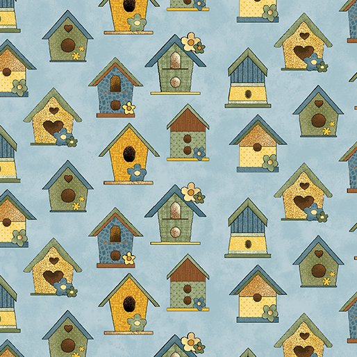 Benartex Sunshine Garden Blue Bird Houses 10071 50