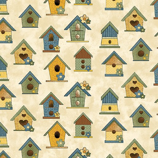 Benartex Sunshine Garden Sand Bird Houses 10071 73