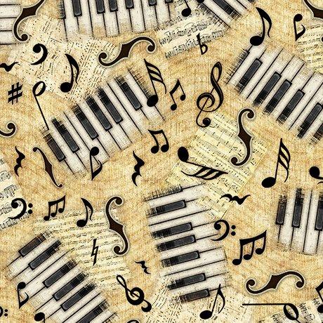 Quilting Treasures Encore 1649 27016 S Piano Keys & Notes Light Butterscotch