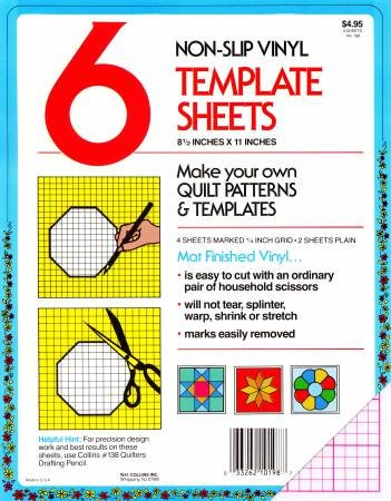 Blank Plastic Template Sheet 4 1/4 Grid sheets and 2 sheets plain