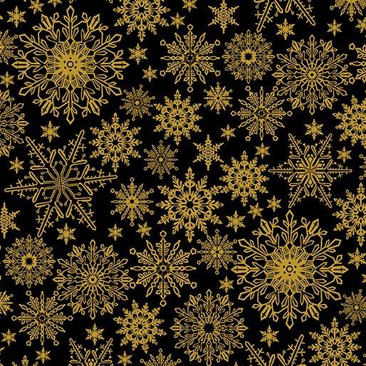 Benartex A Festive Season 2650M 12 Metallic Snowflake Black