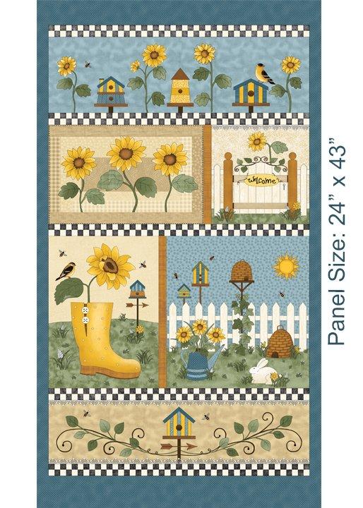 Benartex Sunshine Garden Panel Blue Multi 3490 50