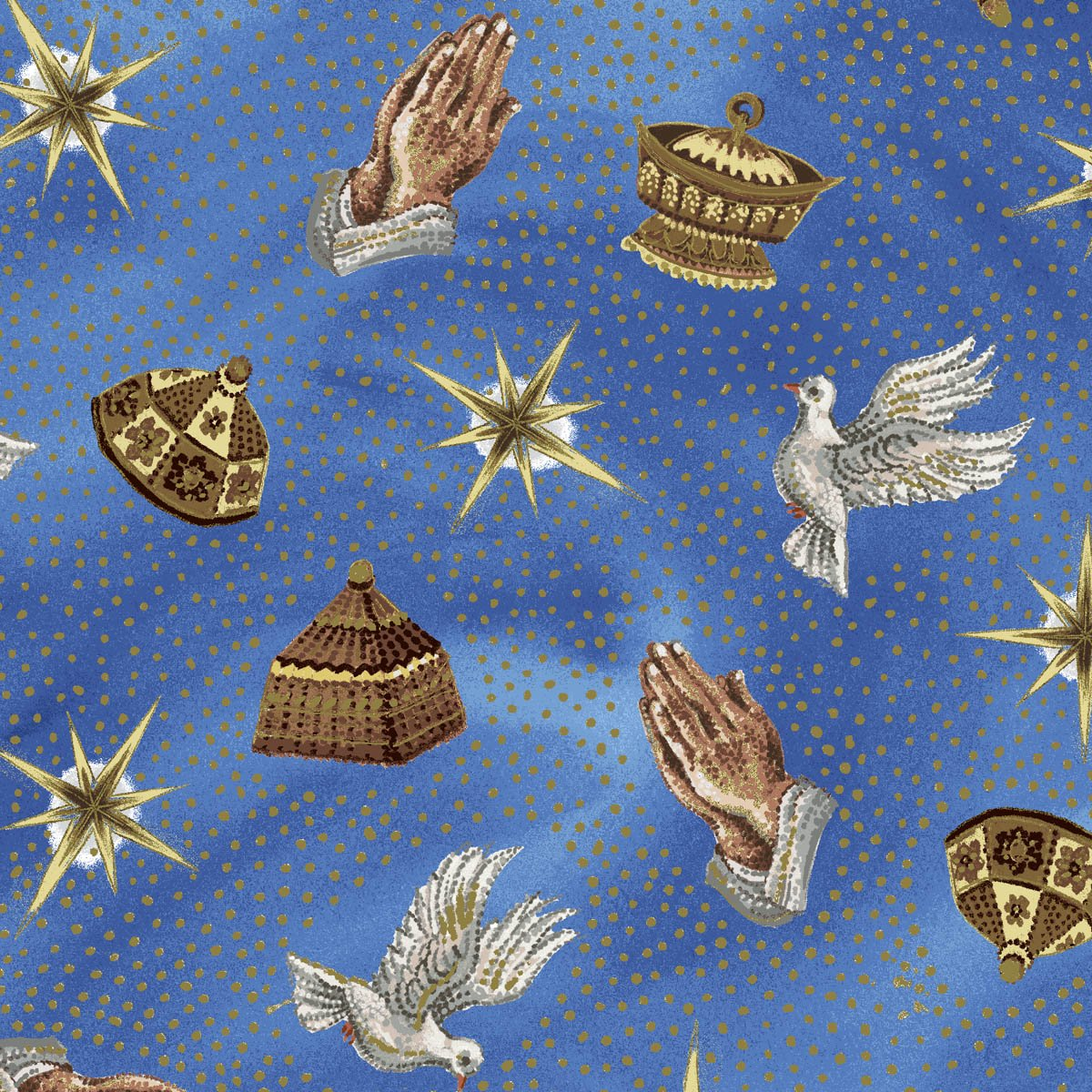 Exclusively Quilters Nativity Turquoise with Symbols 4091EQ 61274 2