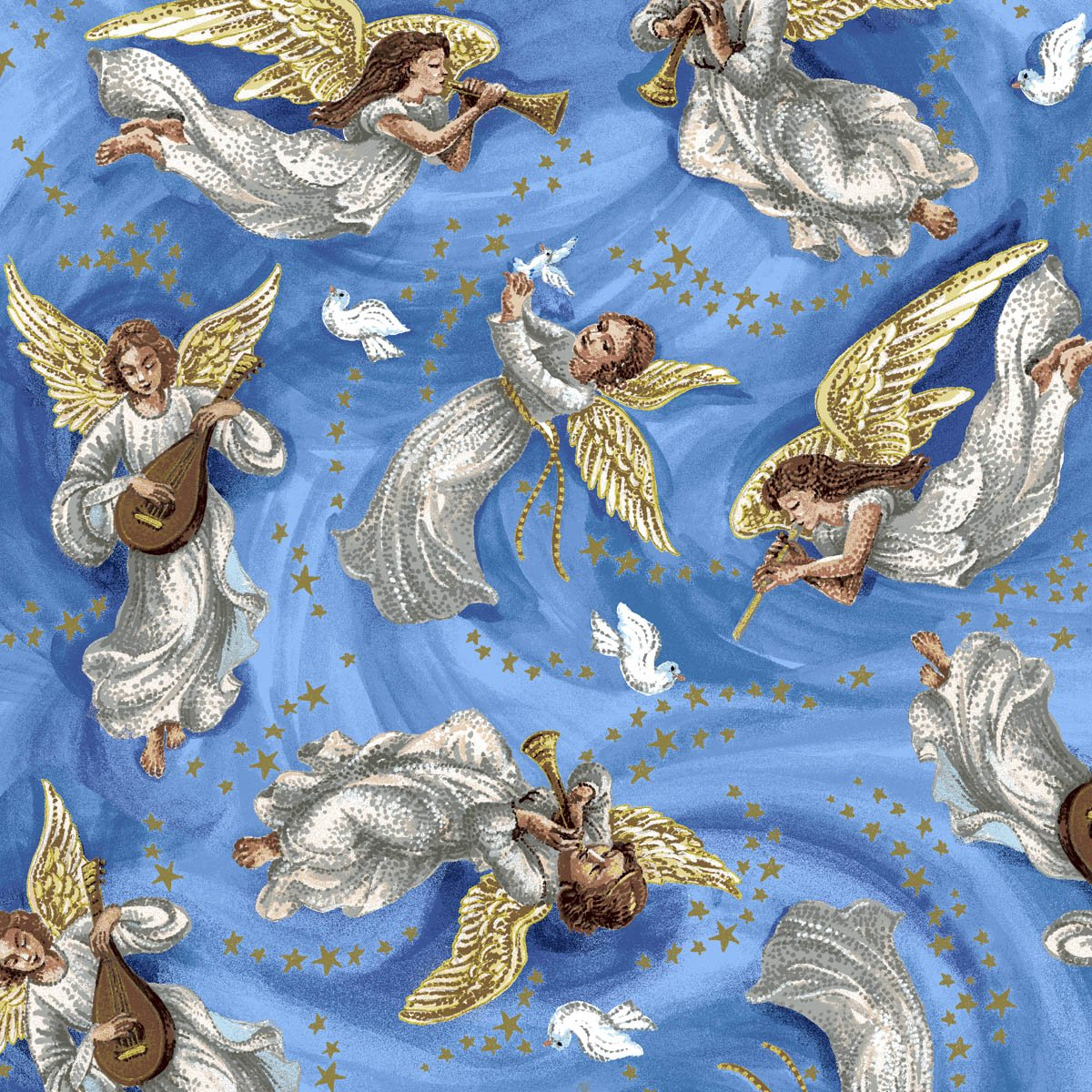 Exclusively Quilters Nativity Turquoise  with Angels 4091EQ 61276 2