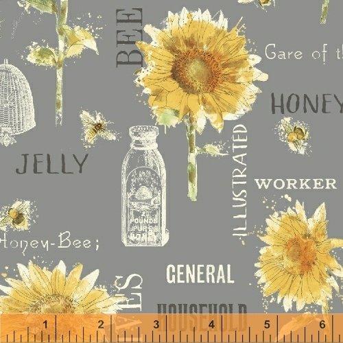 Windham Bee My Sunshine by Whistler Studios 43315 3 Cream Sunflowers Cotton Fab