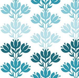 In The Beginning Fabrics - Bloom Modern TriFloral Stripe - Turquoise4BLM2