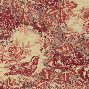 In the Beginning - Floral Bouquet Toile5FB-17 Red/Cream - Sharon Evans Yenter