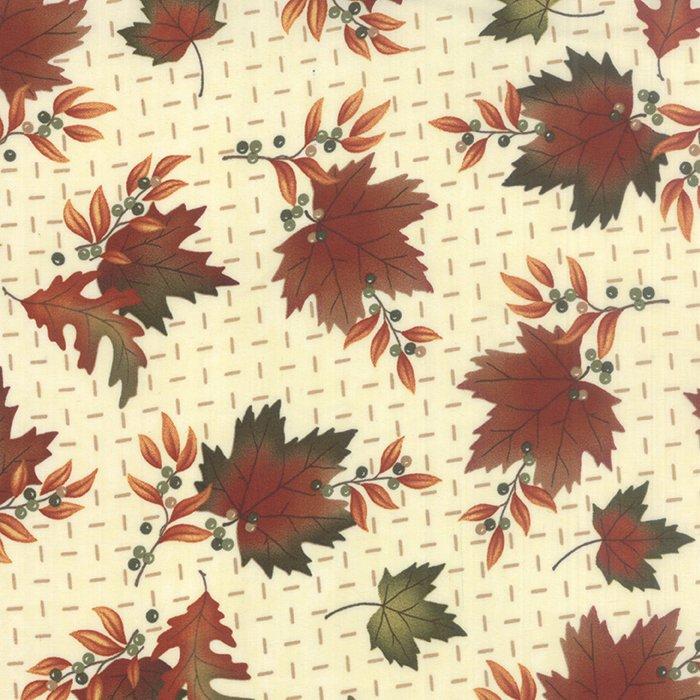 Moda - Maple Island  Cream background with multi leaves  6611-12
