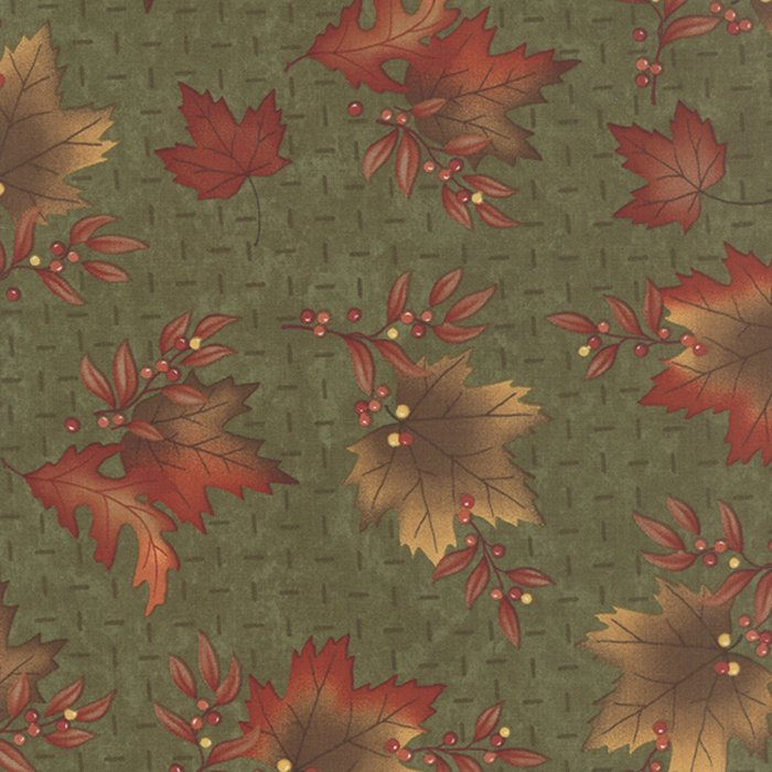 Moda - Maple Island Grean background with  Leaves 6611-15