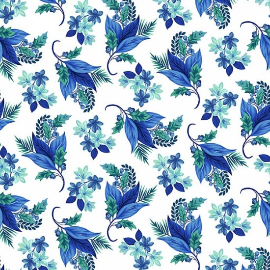 Henry Glass Something  Blue White with Blue Flowers/Leaves  8323 4