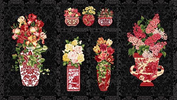 Henry Glass Botanica III-Scarlet 8412P 99 Panel