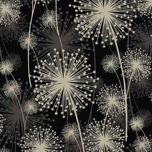 Benartex - Kanvas Natures Pearl Cream on Black Dandelions 8459P 12